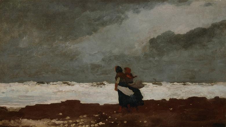 絵画 インテリア 額入り 壁掛け複製油絵ウィンスロー・ホーマー 海辺の二人 F20サイズ F20号 727x606mm 絵画 インテリア 額入り 壁掛け 油絵
