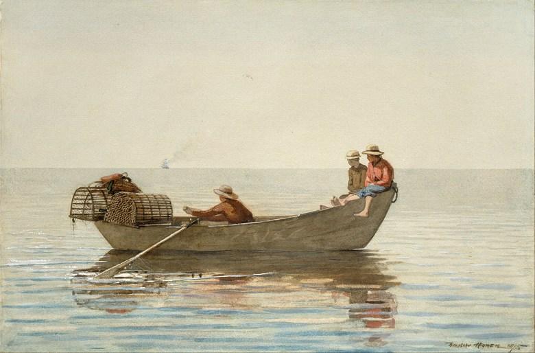 油絵 油彩画 絵画 複製画 ウィンスロー・ホーマー ロブスターの籠と三人の子供 M10サイズ M10号 530x333mm すぐに飾れる豪華額縁付きキャンバス