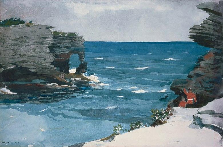 ウィンスロー・ホーマー バミューダ諸島の岩石海岸 M30サイズ M30号 910x606mm 条件付き送料無料 絵画 インテリア 額入り 壁掛け複製油絵ウィンスロー・ホーマー