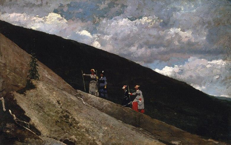 油絵 油彩画 絵画 複製画 ウィンスロー・ホーマー 山にて M10サイズ M10号 530x333mm すぐに飾れる豪華額縁付きキャンバス
