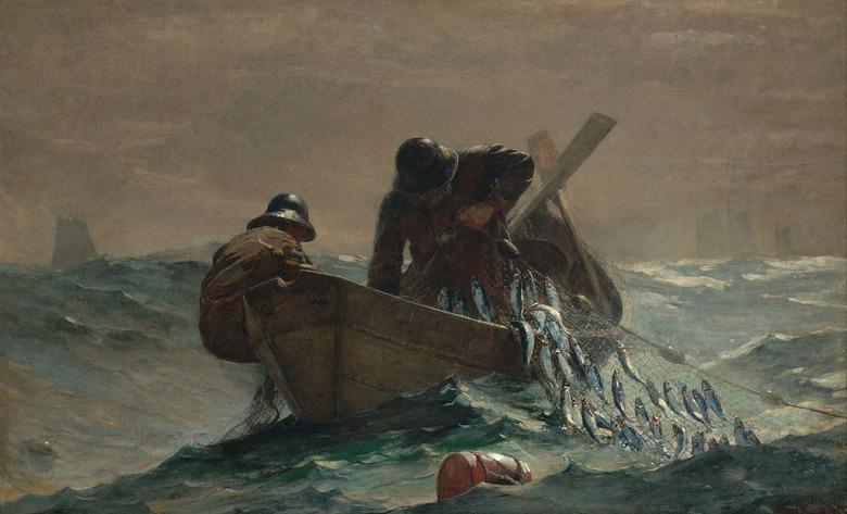 油絵 油彩画 絵画 複製画 ウィンスロー・ホーマー ニシン漁 M10サイズ M10号 530x333mm すぐに飾れる豪華額縁付きキャンバス