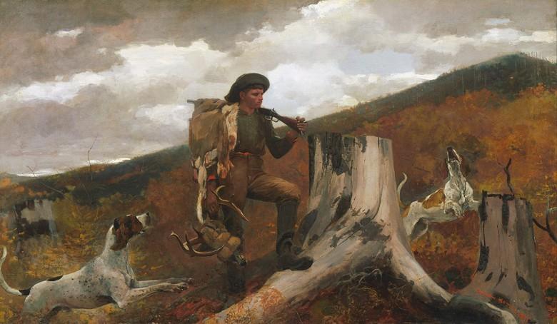 ウィンスロー・ホーマー 狩人と犬 F30サイズ F30号 910x727mm 条件付き送料無料  額縁付絵画 インテリア 額入り 壁掛け複製油絵ウィンスロー・ホーマー