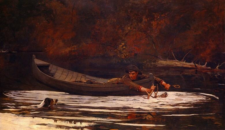 絵画 インテリア 額入り 壁掛け複製油絵ウィンスロー・ホーマー 猟犬と狩人 F20サイズ F20号 727x606mm 絵画 インテリア 額入り 壁掛け 油絵