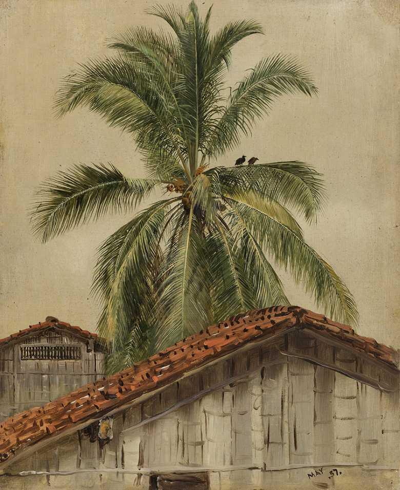 ウィンスロー・ホーマー やしの木と屋根(エクアドル) F30サイズ F30号 910x727mm 条件付き送料無料  額縁付絵画 インテリア 額入り 壁掛け複製油絵ウィンスロー・ホーマー