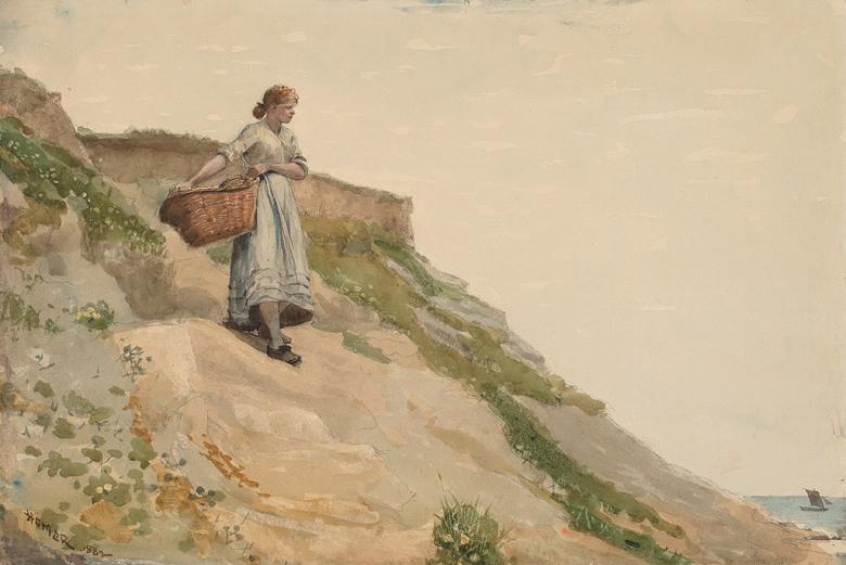 【送料無料】絵画 油彩画複製油絵複製画/ウィンスロー・ホーマー 篭を運ぶ女性 M8サイズ M8号 455x273mm すぐに飾れる豪華額縁付きキャンバス