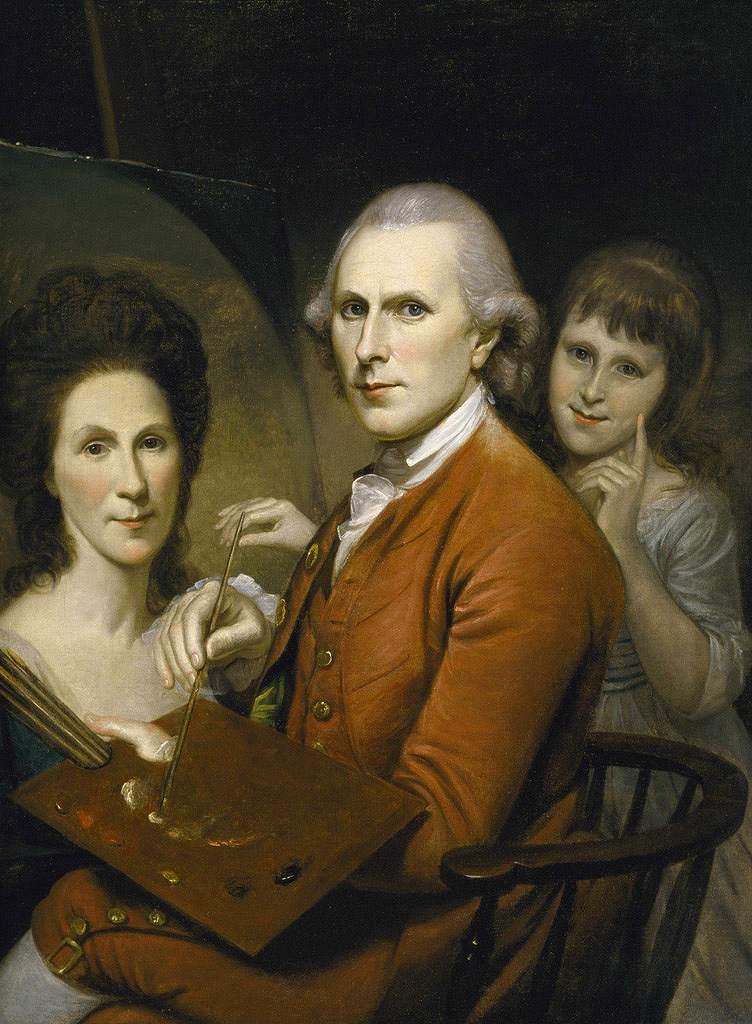 絵画 インテリア 額入り 壁掛け複製油絵チャールズ・ウィルソン・ピール レイチェルの肖像画とアンジェリカとの自画像 P15サイズ P15号 652x500mm 油彩画 複製画 選べる額縁 選べるサイズ