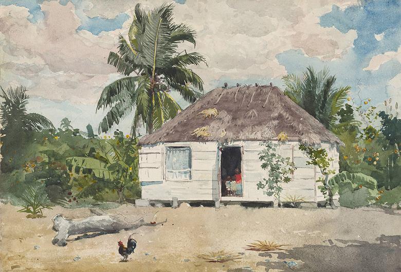 油絵 油彩画 絵画 複製画 ウィンスロー・ホーマー ナッソーのあばら屋 P10サイズ P10号 530x410mm すぐに飾れる豪華額縁付きキャンバス