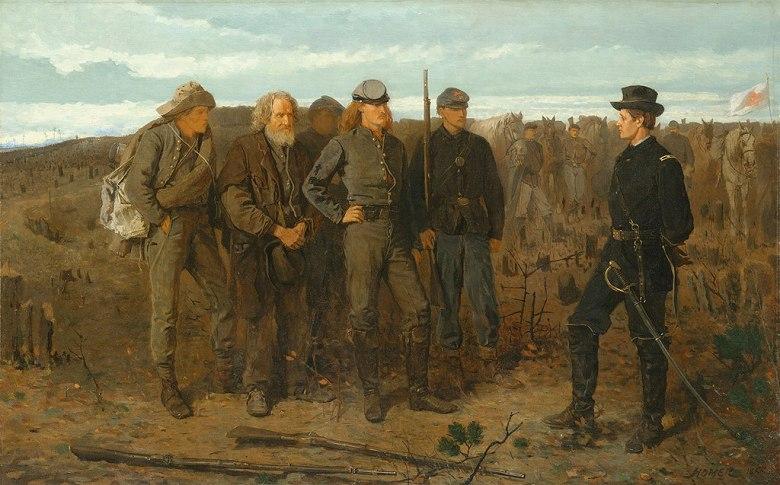 油絵 油彩画 絵画 複製画 ウィンスロー・ホーマー 前線からの囚人 M10サイズ M10号 530x333mm すぐに飾れる豪華額縁付きキャンバス
