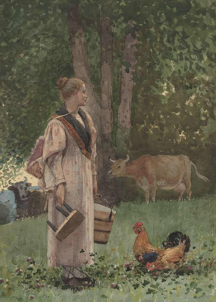 ウィンスロー・ホーマー 牛乳を搾る女性 P30サイズ P30号 910x653mm 条件付き送料無料 絵画 インテリア 額入り 壁掛け複製油絵ウィンスロー・ホーマー