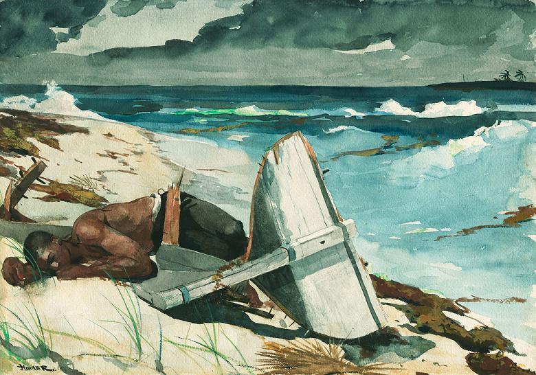 絵画 インテリア 額入り 壁掛け複製油絵ウィンスロー・ホーマー ハリケーンの後、バハマ P15サイズ P15号 652x500mm 油彩画 複製画 選べる額縁 選べるサイズ