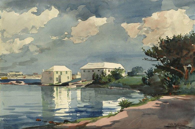 油絵 油彩画 絵画 複製画 ウィンスロー・ホーマー バミューダ島のソルトケトル M10サイズ M10号 530x333mm すぐに飾れる豪華額縁付きキャンバス