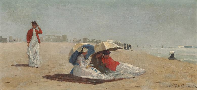 油絵 油彩画 絵画 複製画 ウィンスロー・ホーマー イーストハンプトンの浜辺、ロングアイランド F10サイズ F10号 530x455mm すぐに飾れる豪華額縁付きキャンバス