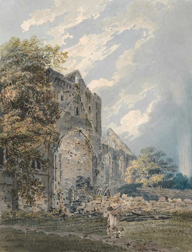 油絵 油彩画 絵画 複製画 トーマス・ガーティン プラスカーデン修道院、エルギン F10サイズ F10号 530x455mm すぐに飾れる豪華額縁付きキャンバス