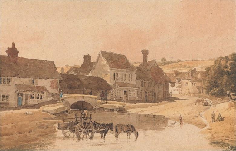油絵 油彩画 絵画 複製画 トーマス・ガーティン カークストールの街、ヨークシャー M10サイズ M10号 530x333mm すぐに飾れる豪華額縁付きキャンバス