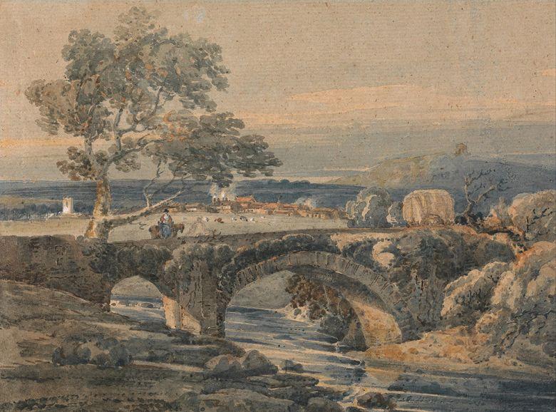 油絵 油彩画 絵画 複製画 トーマス・ガーティン デヴォンの古い橋 P10サイズ P10号 530x410mm すぐに飾れる豪華額縁付きキャンバス