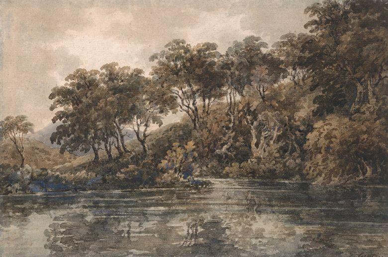 トーマス・ガーティン ブロムリー近くの木々と池、ケント M30サイズ M30号 910x606mm 条件付き送料無料 絵画 インテリア 額入り 壁掛け複製油絵トーマス・ガーティン
