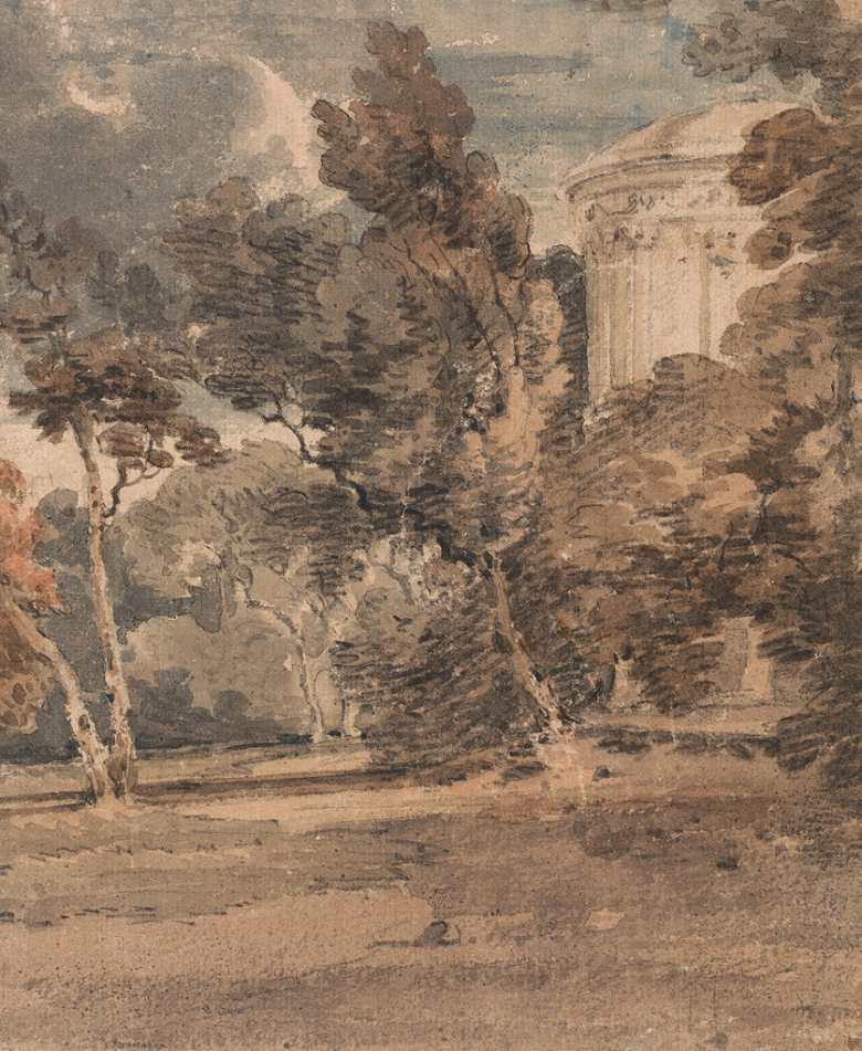 絵画 インテリア 額入り 壁掛け複製油絵トーマス・ガーティン ヘアウッド公園の神殿 F15サイズ F15号 652x530mm 油彩画 複製画 選べる額縁 選べるサイズ