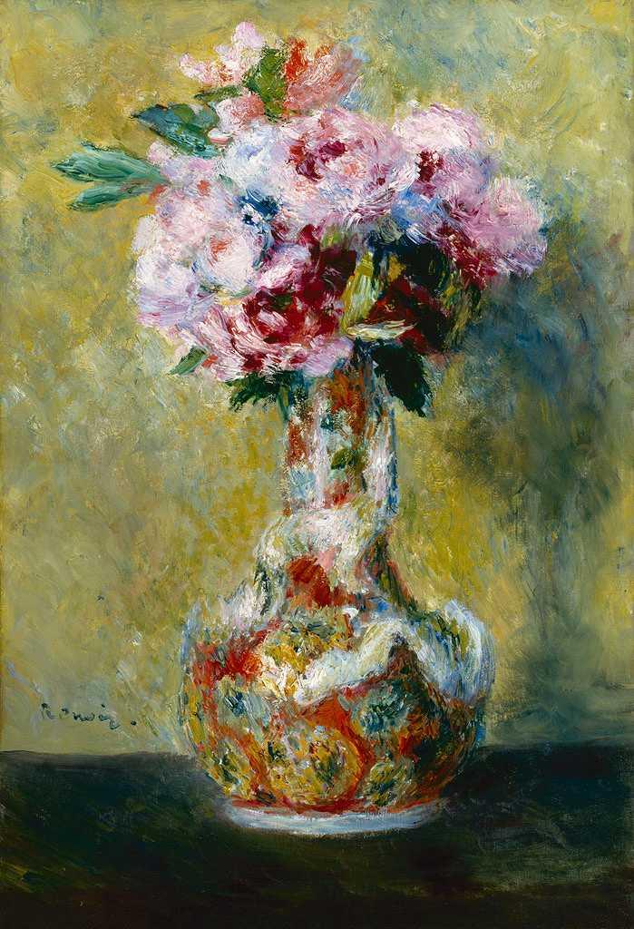 絵画 インテリア 額入り 壁掛け複製油絵ピエール=オーギュスト・ルノワール 花瓶の花束 P20サイズ P20号 727x530mm 絵画 インテリア 額入り 壁掛け 油絵