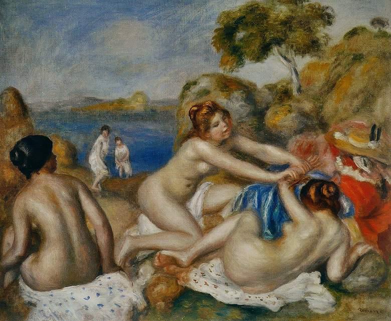 油絵 油彩画 絵画 複製画 ピエール=オーギュスト・ルノワール 三人の浴女たち F10サイズ F10号 530x455mm すぐに飾れる豪華額縁付きキャンバス