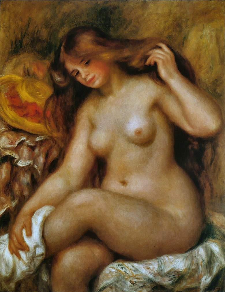 油絵 油彩画 絵画 複製画 ピエール=オーギュスト・ルノワール 足を組む裸婦と帽子(ブロンドの浴女) F10サイズ F10号 530x455mm すぐに飾れる豪華額縁付きキャンバス