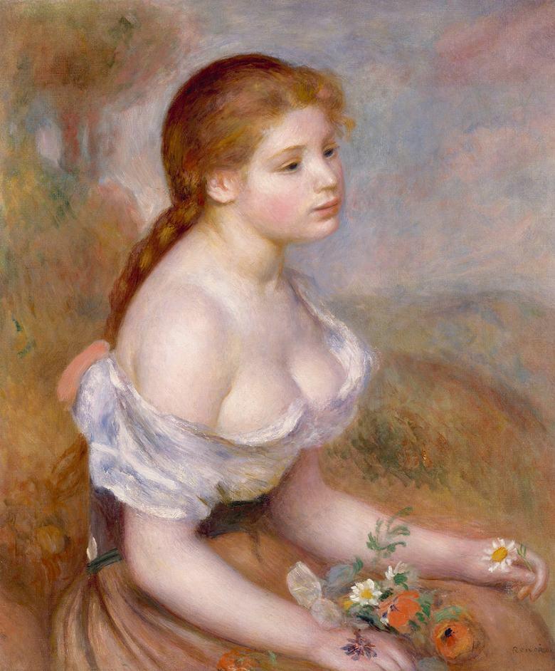 油絵 油彩画 絵画 複製画 ピエール=オーギュスト・ルノワール 雛菊を持った若い娘 F10サイズ F10号 530x455mm すぐに飾れる豪華額縁付きキャンバス