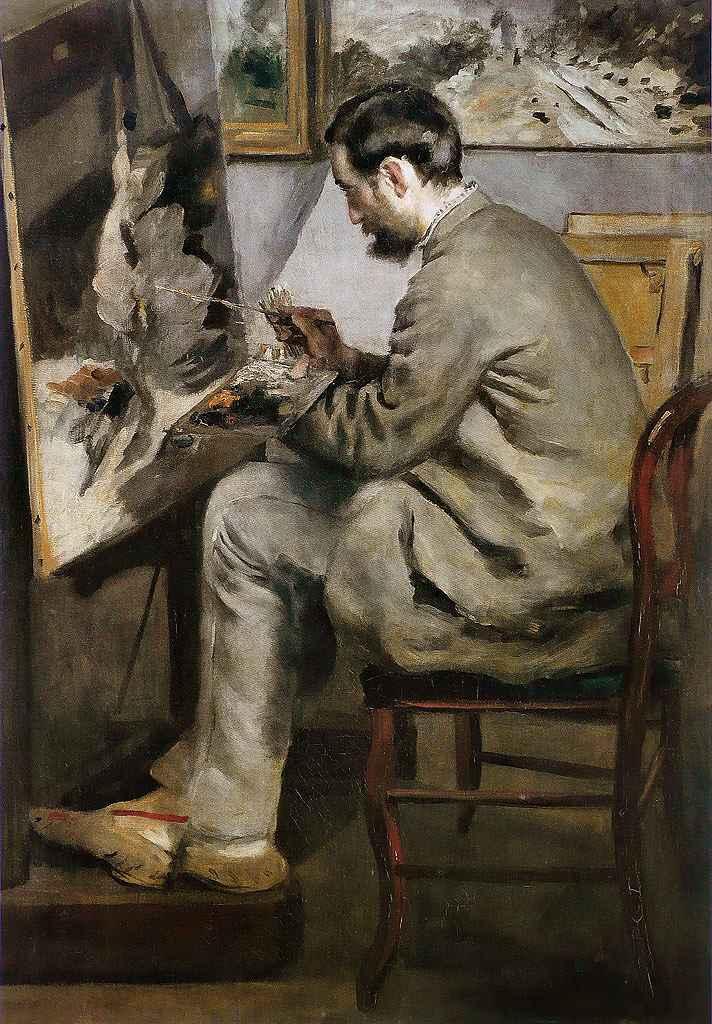 油絵 油彩画 絵画 複製画 ピエール=オーギュスト・ルノワール フレデリック・バジールの肖像 P10サイズ P10号 530x410mm すぐに飾れる豪華額縁付きキャンバス