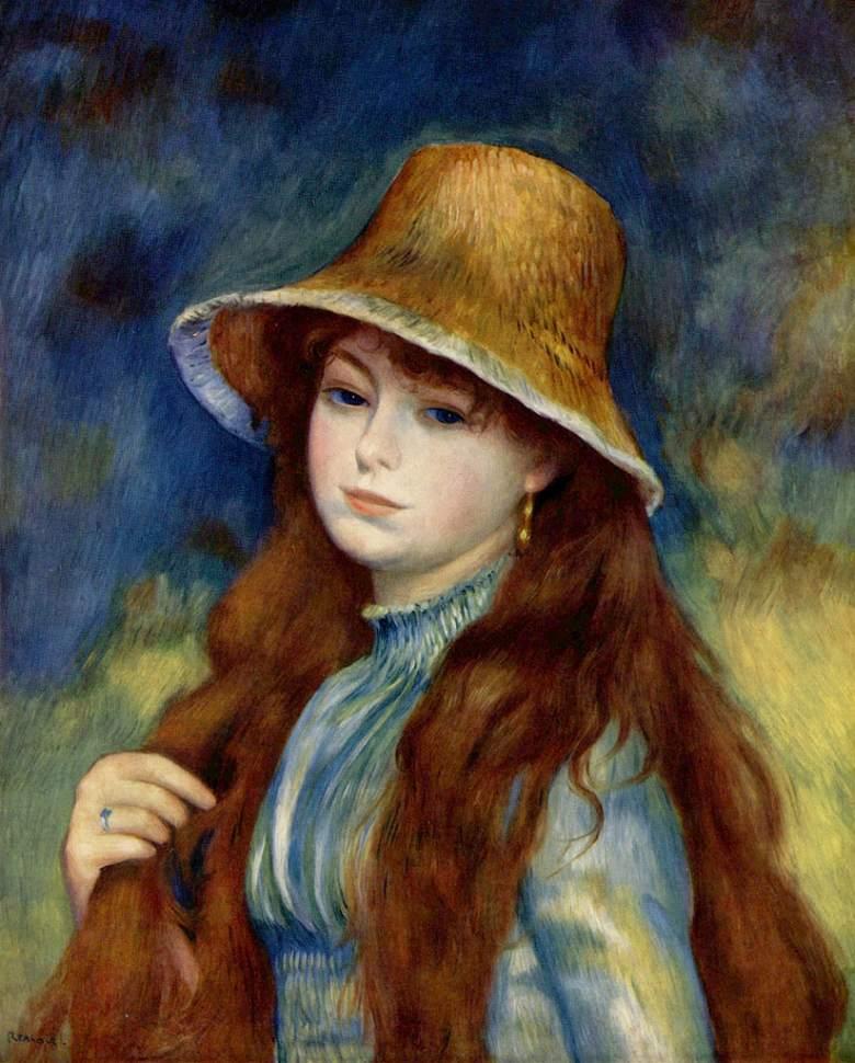 絵画 インテリア 額入り 壁掛け複製油絵ピエール=オーギュスト・ルノワール 麦わら帽子をかぶる農家の少女 F20サイズ F20号 727x606mm 絵画 インテリア 額入り 壁掛け 油絵