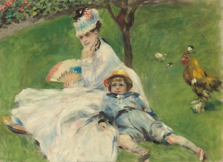 油絵 油彩画 絵画 複製画 ピエール=オーギュスト・ルノワール モネ夫人と息子 P10サイズ P10号 530x410mm すぐに飾れる豪華額縁付きキャンバス