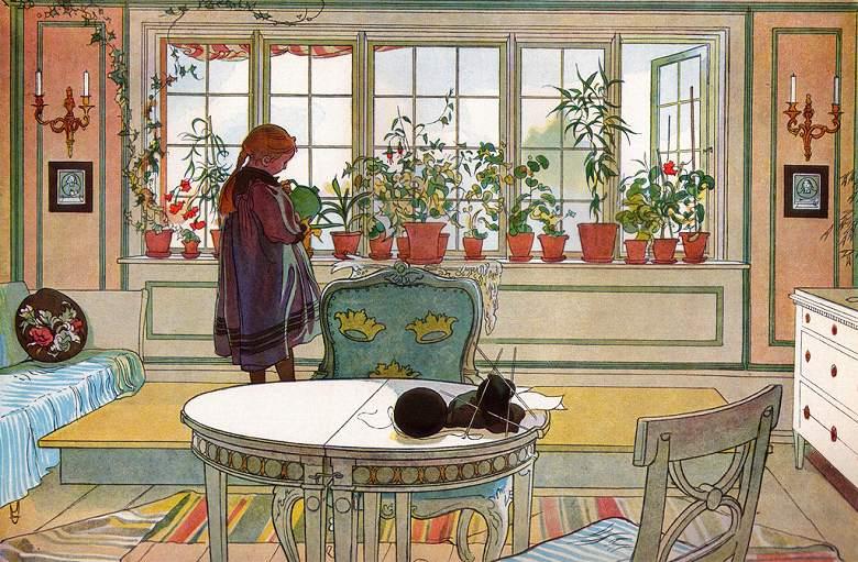 油絵 油彩画 絵画 複製画 カール・ラーション 窓辺の花 M10サイズ M10号 530x333mm すぐに飾れる豪華額縁付きキャンバス
