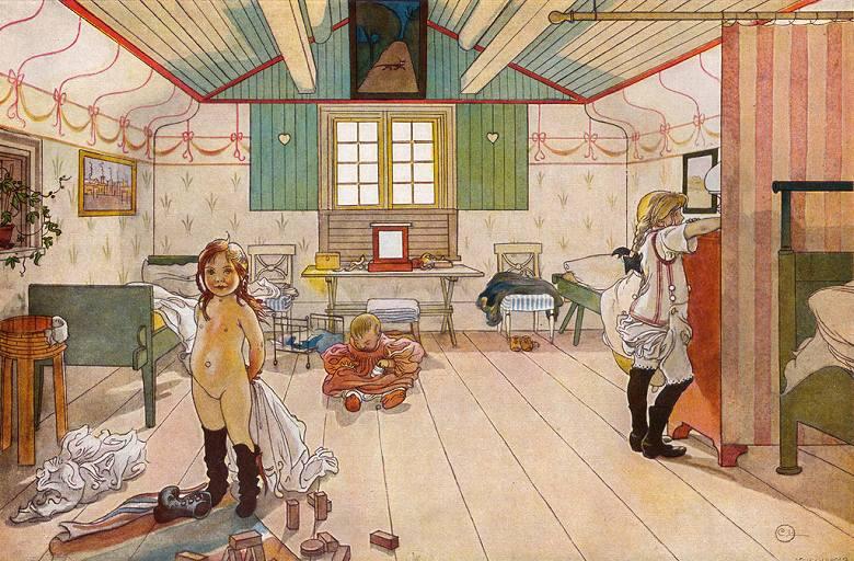 油絵 油彩画 絵画 複製画 カール・ラーション お母さんと娘たちの部屋 M10サイズ M10号 530x333mm すぐに飾れる豪華額縁付きキャンバス