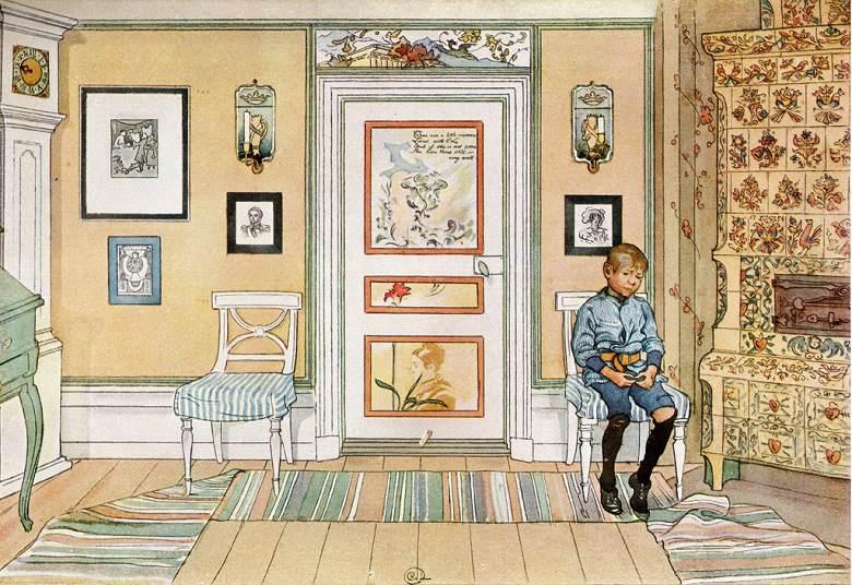 油絵 油彩画 絵画 複製画 カール・ラーション 片隅で P10サイズ P10号 530x410mm すぐに飾れる豪華額縁付きキャンバス
