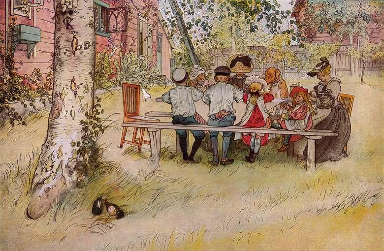 油絵 油彩画 絵画 複製画 カール・ラーション 大きな樺の木の下での朝食 M10サイズ M10号 530x333mm すぐに飾れる豪華額縁付きキャンバス