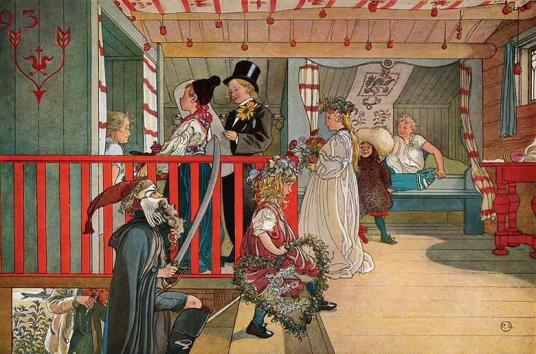 油絵 油彩画 絵画 複製画 カール・ラーション 聖名祝日 M10サイズ M10号 530x333mm すぐに飾れる豪華額縁付きキャンバス