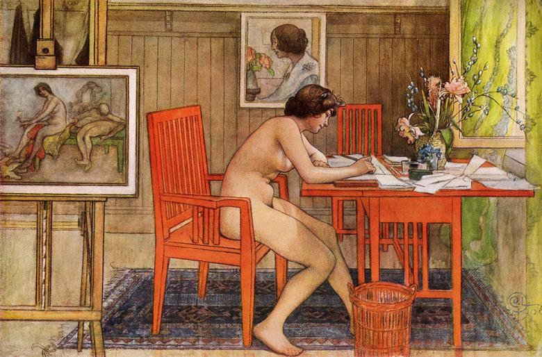 油絵 油彩画 絵画 複製画 カール・ラーション ポストカードを書くモデル M10サイズ M10号 530x333mm すぐに飾れる豪華額縁付きキャンバス