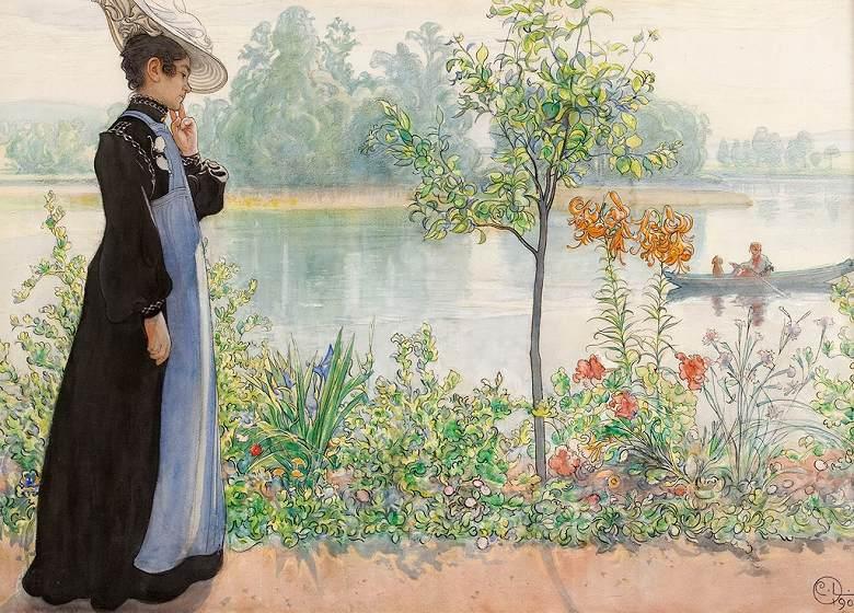 油絵 油彩画 絵画 複製画 カール・ラーション 夏の終わり(湖畔のカーリン) P10サイズ P10号 530x410mm すぐに飾れる豪華額縁付きキャンバス