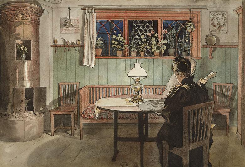 油絵 油彩画 絵画 複製画 カール・ラーション 子供たちの寝静まったあと P10サイズ P10号 530x410mm すぐに飾れる豪華額縁付きキャンバス