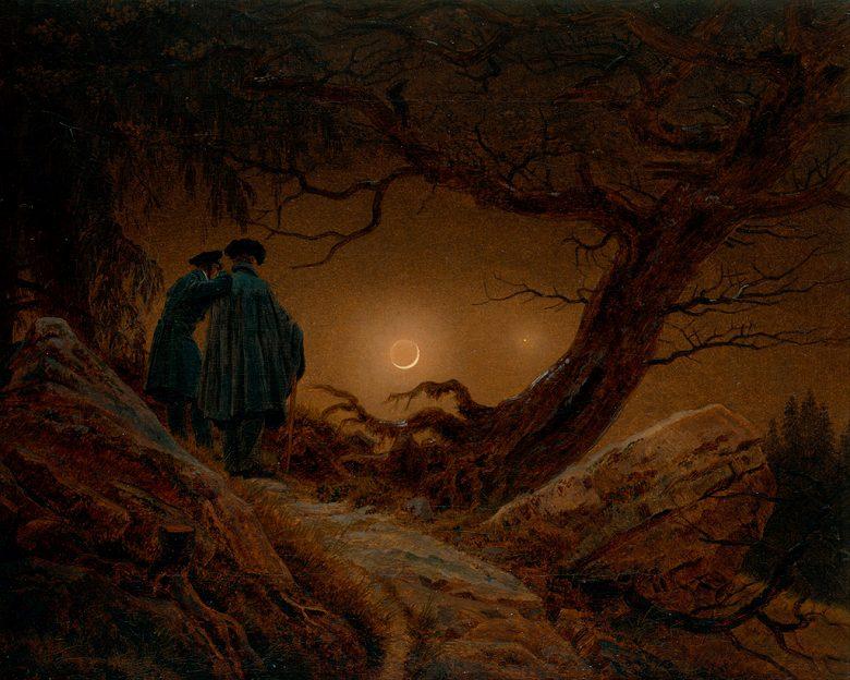 油絵 油彩画 絵画 複製画 カスパー・ダーヴィト・フリードリヒ 月を眺める二人の男 F10サイズ F10号 530x455mm すぐに飾れる豪華額縁付きキャンバス