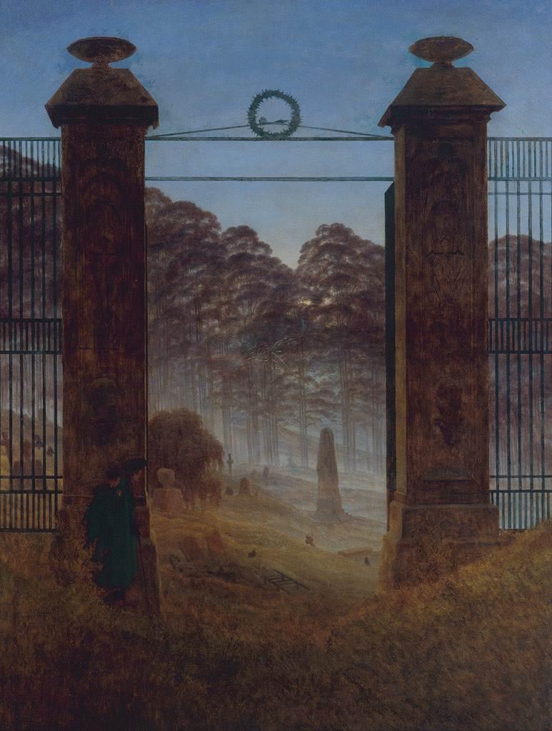 絵画 インテリア 額入り 壁掛け複製油絵カスパー・ダーヴィト・フリードリヒ 墓地の入り口 P15サイズ P15号 652x500mm 油彩画 複製画 選べる額縁 選べるサイズ