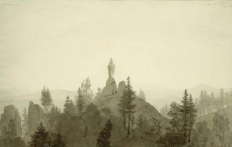 絵画 インテリア 額入り 壁掛け複製油絵カスパー・ダーヴィト・フリードリヒ 山の上の聖母像 M15サイズ M15号 652x455mm 油彩画 複製画 選べる額縁 選べるサイズ