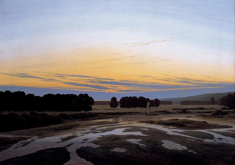 油絵 油彩画 絵画 複製画 カスパー・ダーヴィト・フリードリヒ ドレスデン近郊の大狩猟場 P10サイズ P10号 530x410mm すぐに飾れる豪華額縁付きキャンバス