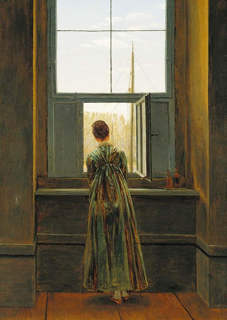 油絵 油彩画 絵画 複製画 カスパー・ダーヴィト・フリードリヒ 窓辺の婦人 P10サイズ P10号 530x410mm すぐに飾れる豪華額縁付きキャンバス