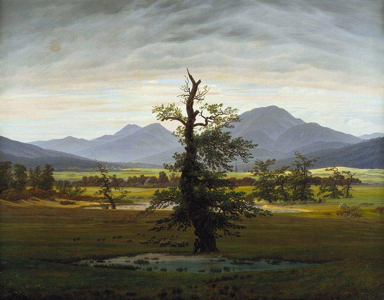 油絵 油彩画 絵画 複製画 カスパー・ダーヴィト・フリードリヒ 孤独な樹 F10サイズ F10号 530x455mm すぐに飾れる豪華額縁付きキャンバス