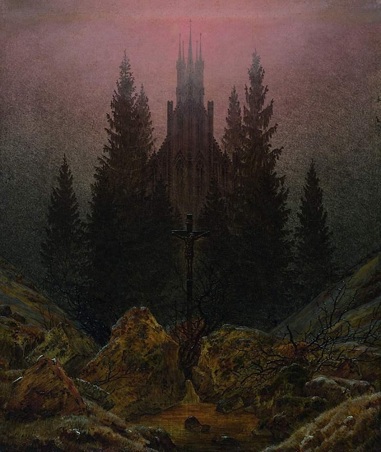 カスパー・ダーヴィト・フリードリヒ 山の中の十字架と聖堂 F30サイズ F30号 910x727mm 条件付き送料無料  額縁付絵画 インテリア 額入り 壁掛け複製油絵カスパー・ダーヴィト・フリードリヒ