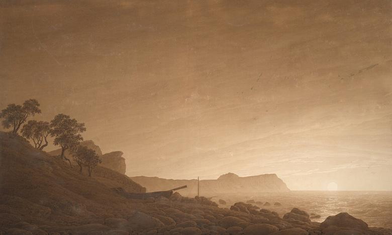 【送料無料】絵画 油彩画複製油絵複製画/カスパー・ダーヴィト・フリードリヒ アルコーナの月の出 M8サイズ M8号 455x273mm すぐに飾れる豪華額縁付きキャンバス