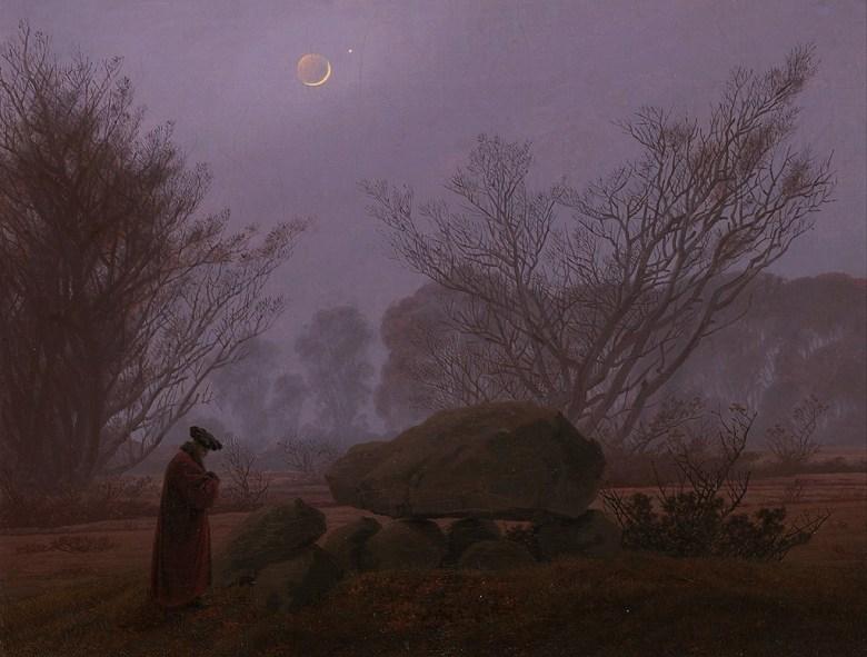 油絵 油彩画 絵画 複製画 カスパー・ダーヴィト・フリードリヒ 夕暮れの散歩 P10サイズ P10号 530x410mm すぐに飾れる豪華額縁付きキャンバス