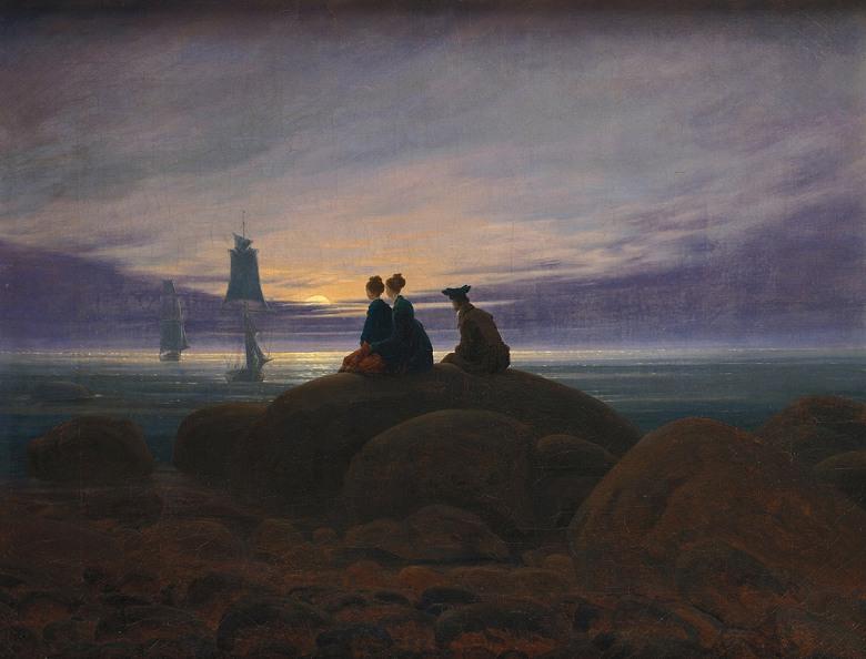 油絵 油彩画 絵画 複製画 カスパー・ダーヴィト・フリードリヒ 海の上の月の出 F10サイズ F10号 530x455mm すぐに飾れる豪華額縁付きキャンバス