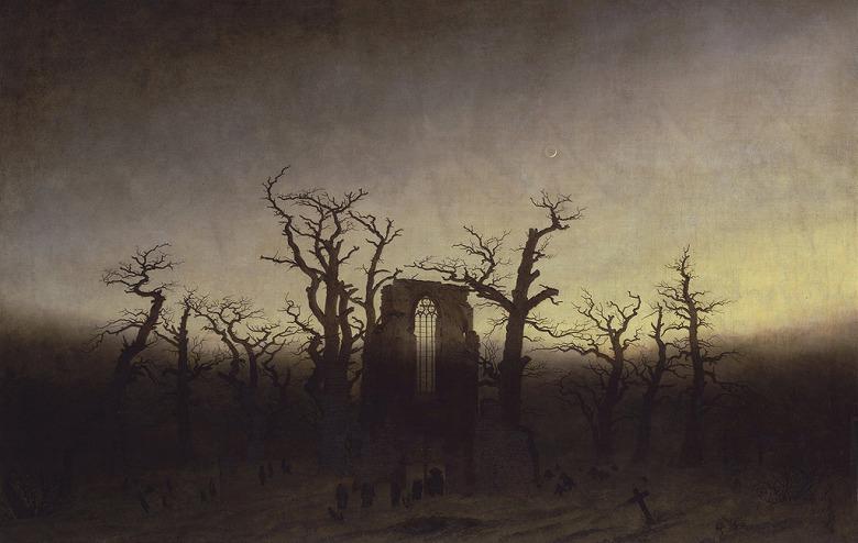 カスパー・ダーヴィト・フリードリヒ 樫の森の中の修道院 M30サイズ M30号 910x606mm 条件付き送料無料 絵画 インテリア 額入り 壁掛け複製油絵カスパー・ダーヴィト・フリードリヒ