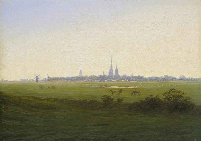 油絵 油彩画 絵画 複製画 カスパー・ダーヴィト・フリードリヒ グライフスヴァルト近郊の草地 P10サイズ P10号 530x410mm すぐに飾れる豪華額縁付きキャンバス