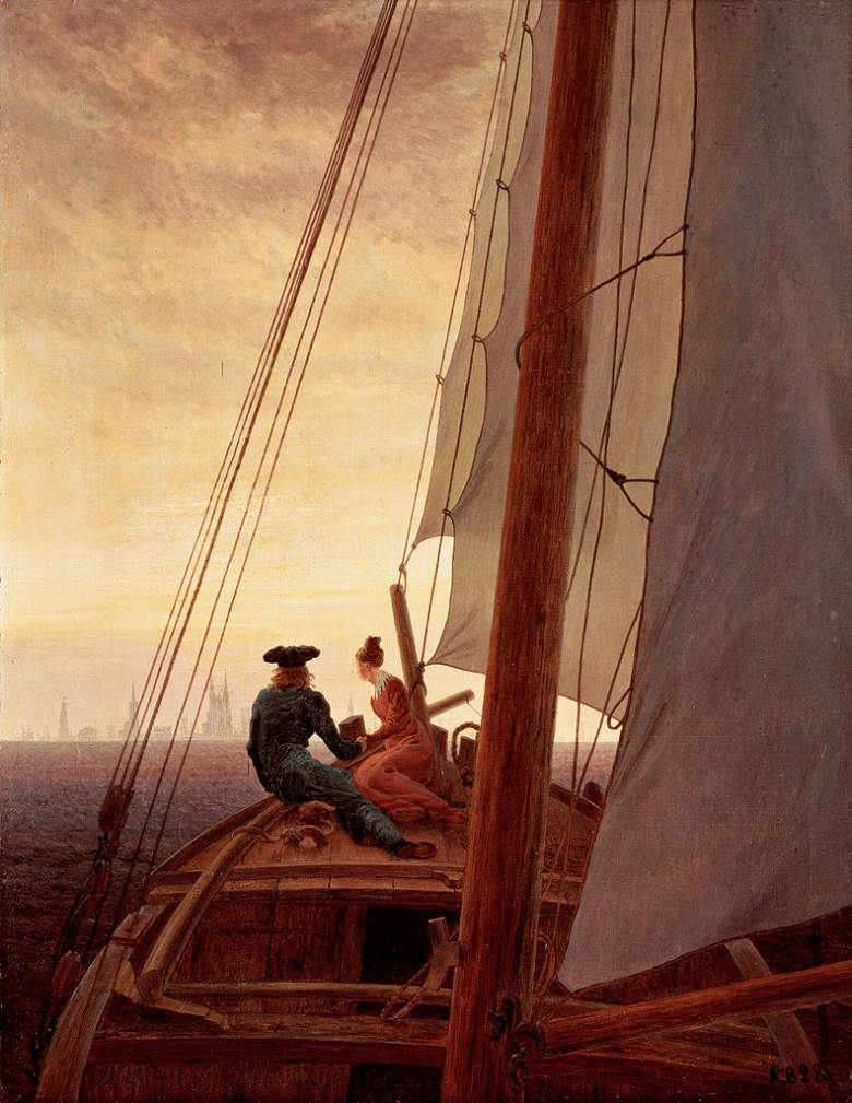 絵画 インテリア 額入り 壁掛け複製油絵カスパー・ダーヴィト・フリードリヒ 帆船にて F20サイズ F20号 727x606mm 絵画 インテリア 額入り 壁掛け 油絵