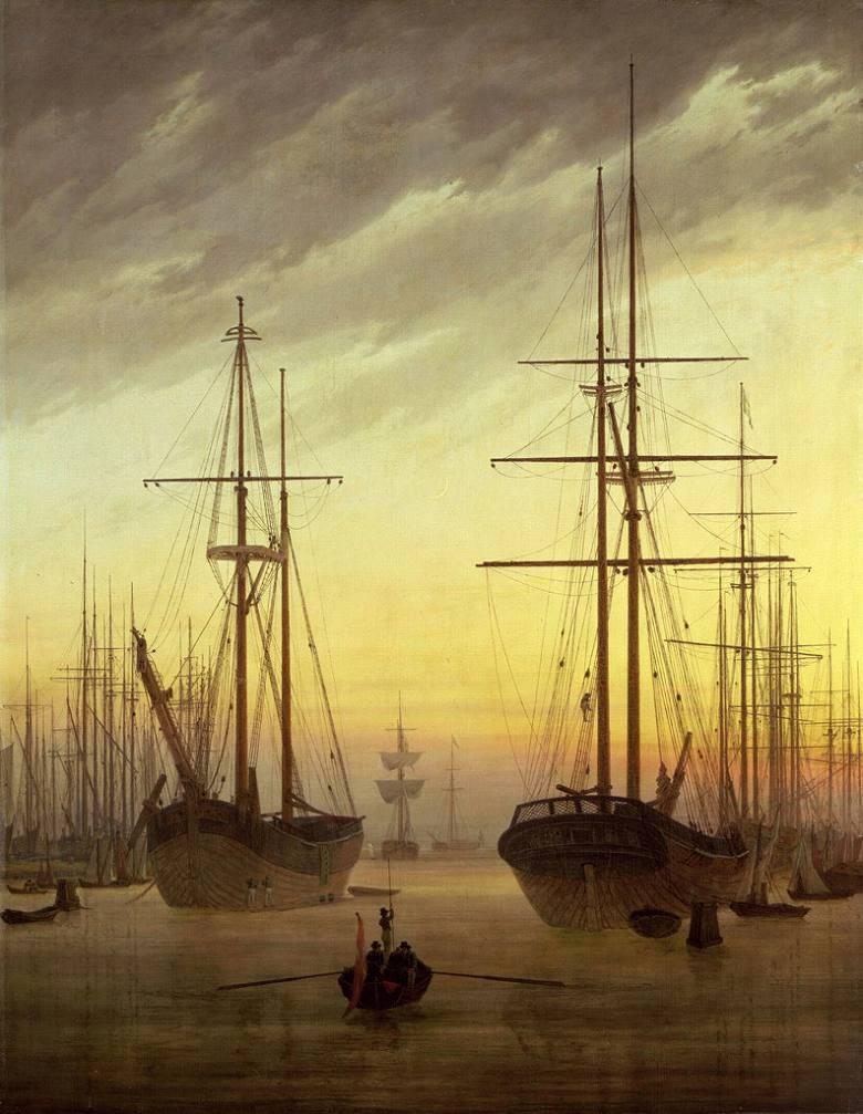 油絵 油彩画 絵画 複製画 カスパー・ダーヴィト・フリードリヒ 港の風景 F10サイズ F10号 530x455mm すぐに飾れる豪華額縁付きキャンバス